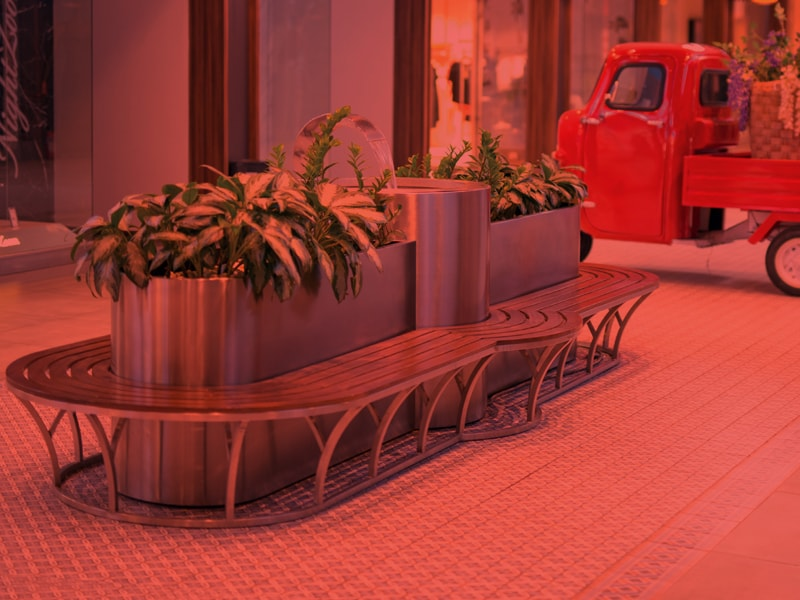 BENCHES AND PLANTERS WITH BENCH
